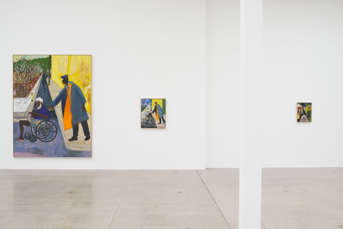 Peter Doig, Installation view of Untitled (Wheelchair), 2019; Untitled (Small Wheel Chair), 2019, Musical Equipment Ltd., 2019, at Secession, Vienna.