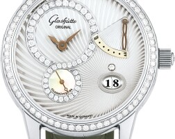 160. glashütte original | pano reserve a white gold and diamond-set wrstwatch with date, power reserve indication and mother-of-pearl dial, circa 2005