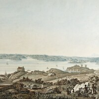 278. sydney--taylor. harbour of port jackson, and the country between sydney and the blue mountains, 1823, aquatint view
