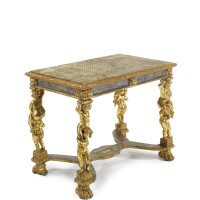 34. an italian baroque mecca and carved giltwood center table incorporating 17th century elements