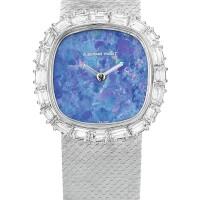 25. audemars piguet   a white gold and diamond-set bracelet watch with opal dial, circa1985