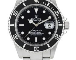 2005. 勞力士 | 16610型號「submariner」精鋼鍊帶腕錶備日期顯示,錶殼編號k179843,約2001年製。