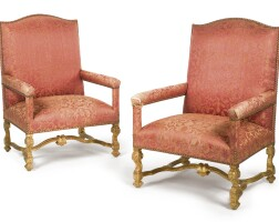 10. a pair of early louis xiv carved giltwood fauteuils