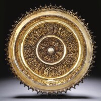 5. a portuguese silver-gilt salver on foot, maker's mark ie, probably portugese, early 16th century, the rim circa 1600