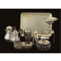 41. miscellaneous royal silver plated items including coffeepots, one tray, one standing cup, cup & saucer with matching spoon
