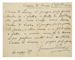 199. puccini, giacomo. obscene autograph poem, signed, dedicated to his friends from lucca, and marked on verso