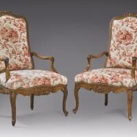 1002. a pair of régence walnut fauteuils à la reine, circa 1730