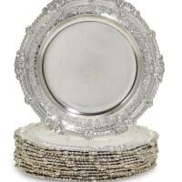 129. a set of twelve george iii silverdinner plates the 12th duke of norfolk's service, paul storr of storr & co. for rundell, bridge & rundell, london, 1816 |