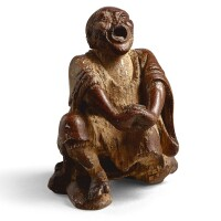 3122. a carved bamboo-root figure of a yawning luohan 17th century |