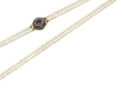 7. natural pearl, amethyst and diamondnecklace