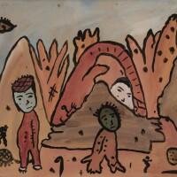 153. gaston chaissac   paysage à trois personnages et un visage