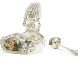 463. agem-set silver and pictorial enamel kovsh and silver ladle, egor cheryatov, moscow, 1908-1917, the ladle retailed by lorié