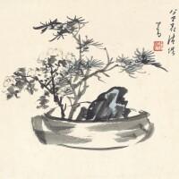 1215. 溥儒 盆花清供 | 設色紙卡 鏡框