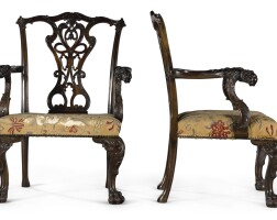 7. a pair of george ii style carved mahogany open armchairsby henry samuel, late 19th century |