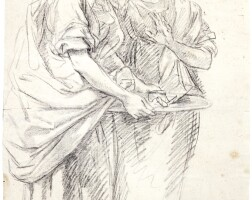 328. french school, circa 1700   study of two women standing, one holding a dish