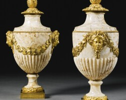 45. a pair of gilt-bronze mounted mottled brown marble lidded urns louis xvi, circa 1775, the mounts attributed to pierre gouthière