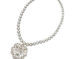 535. platinum and diamond pendant-necklace