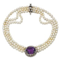 43. cultured pearl, amethyst and diamond necklace