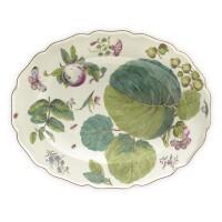 1. a chelsea porcelain 'hans sloane' botanical oval platter circa 1755