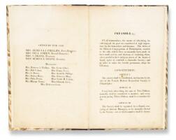 9. the constitution of the female hebrew benevolent society of philadelphia [rebecca gratz], philadelphia: printed for the society, 1825