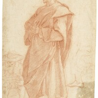 26. florentine school, circa 1600 | study of a cloaked male figure, with a further study of a seated artist, drawing