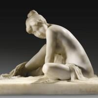 41. albert bartholomé   femme au chignon, sortant du bain et s'essuyant les pieds, assise, les jambes croisées (bathing woman wiping her feet)