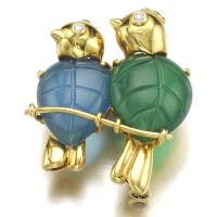 1. gem set and diamond brooch, cartier