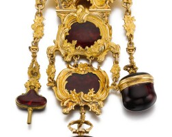 45. graupner, berlin   a rare gold andruby redglass mounted single cased verge watch with matching chatelainecirca 1750, no.197