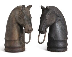 1223. pair of horsehead hitching postsamerican school, 19th century   pair of horsehead hitching postsamerican school, 19th century