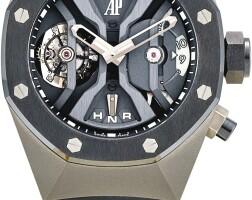 49. audemars piguet | royal oak concept gmt, reference 265601o a titanium tourbillon dual time zone skeletonised wristwatch with black ceramic bezel, circa 2013