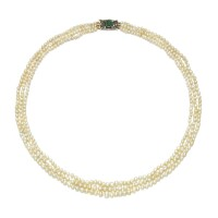 8. natural pearl, paste and diamond necklace