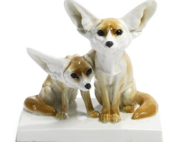 389. a meissen group of fennec foxes circa 1905