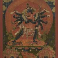 12. 十八世紀 西藏 白度母唐卡 設色布本