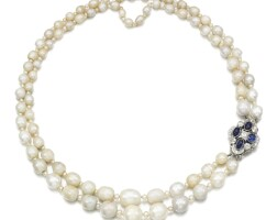 8. natural freshwater pearl, diamond and sapphire necklace