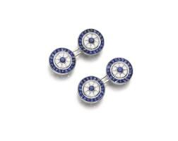30. pair of sapphire and diamond cufflinks