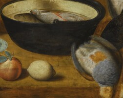 143. georg flegel   still life with fresh-water fish in a large pail and a partridge