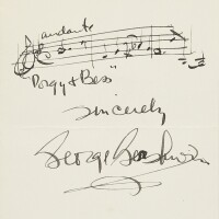 """181. gershwin, george. autograph musical quotation of """"bess, you is my woman now"""", signed and inscribed"""