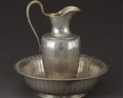 33. a royal german silver ewer and basin, bruckmann & söhne, heilbronn, circa 1900