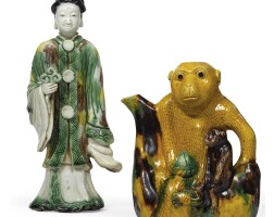 2. a chinese famille-verte biscuit monkey ewer kangxi period, (1662-1722)