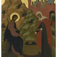 588. christ and the samaritan woman at the well, russia, early 20th century