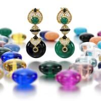 45. pair of gem set and diamond ear clips, 'pneu', marina b