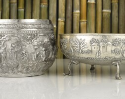 502. an indian and a burmese silver bowl, late 19th century |