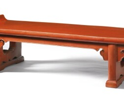 13. a red lacquer low table, kangji ming dynasty