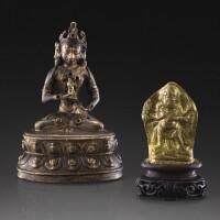 101. 約十四世紀 尼泊爾 銅合金金剛菩薩坐像 及 鎏金金屬瑪哈嘎拉立像