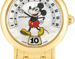 2. gerald genta | fantasy retro mickey mouse, reference g3622 a yellow gold jumping hour wristwatch with retrograde minutes, mother-of-pearl dial and bracelet, circa 1995