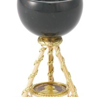 1. a vari-color gold-mounted miniature bloodstone cup, circa 1900