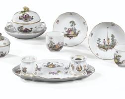 40. ensemble de porcelaines de meissen du xviiie siècle, vers 1750