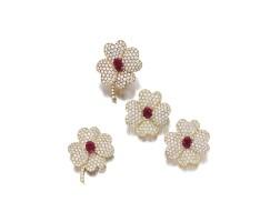 1601. diamond and ruby parure, monture van cleef & arpels