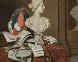 112. horatius paulijn   still life with musical instruments and a songbook,with thebust of the medici venus and a large featheredhelmet
