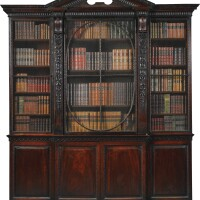 8. a george ii mahogany breakfront bookcase circa 1740, possibly to a design by william kent, originally an alcove fitment with consequential alterations to the sides